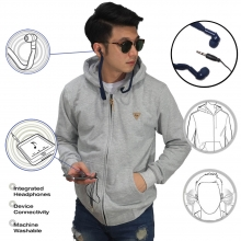 Jaket Hoodie With Earphone Soft Grey
