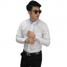 Kemeja Formal Collar Combination White