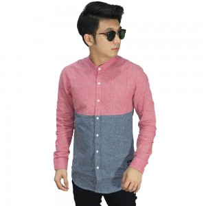 Kemeja Grandad Two Tone Pink And Grey