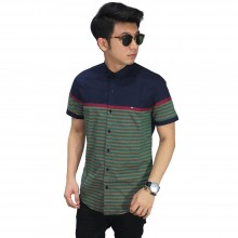 Kemeja Pendek Under Stripe Navy Green