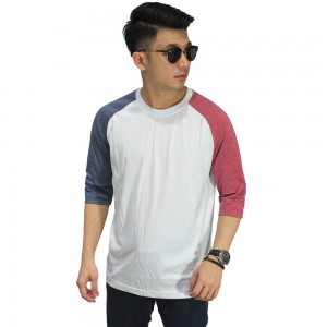 Raglan Mid Sleeve Two Tone White