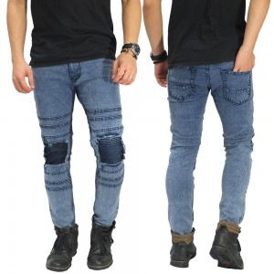 Jeans Ripped With Biker Patch Snow Wash Blue