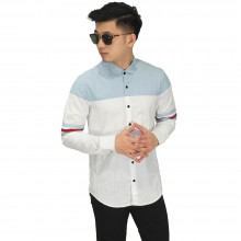 Kemeja Top Combination Soft Blue And White