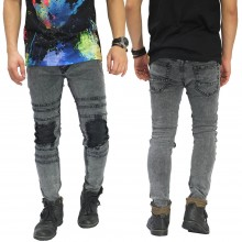 Jeans Ripped With Biker Patch Snow Wash Grey