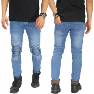 Jeans Ripped With Biker Patch Soft Blue
