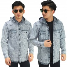 Kemeja Denim Hooded Soft Grey