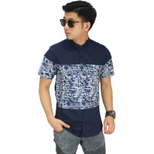 Kemeja Pendek Combine Abstract Motif Navy