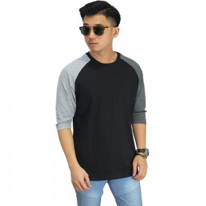 Raglan Mid Sleeve Two Tone Black