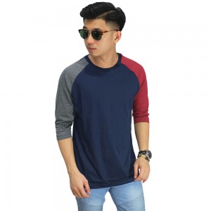 Raglan Mid Sleeve Two Tone Navy