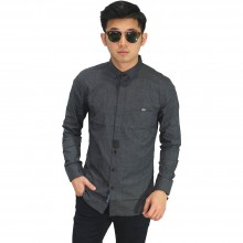Kemeja Formal Hidden Button Dark Grey