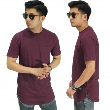 Longline T-Shirt Basic Dark Maroon