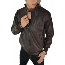 Jacket Leather Brown Simple