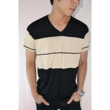 Striped Tee Black Mocca