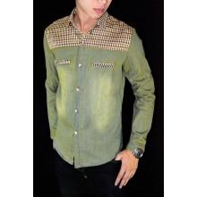 Kemeja Denim Plaid Combination Dusty Green