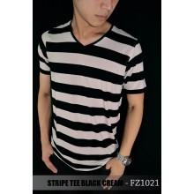 Striped Tee Black n Cream