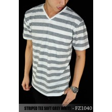 Striped Tee Soft Grey White