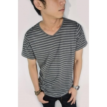 Striped Tee Soft n Dark Grey