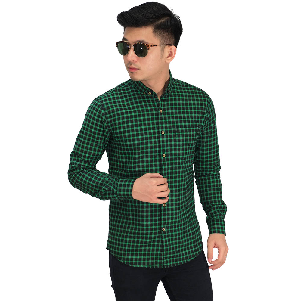 Kemeja Flanel Gingham Green And Black