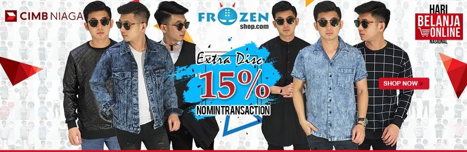 Harbolnas 2019 frozenshop.com memberikan diskon hingga 70%, dan tambahan 15% pembayaran dengan CC CIMB