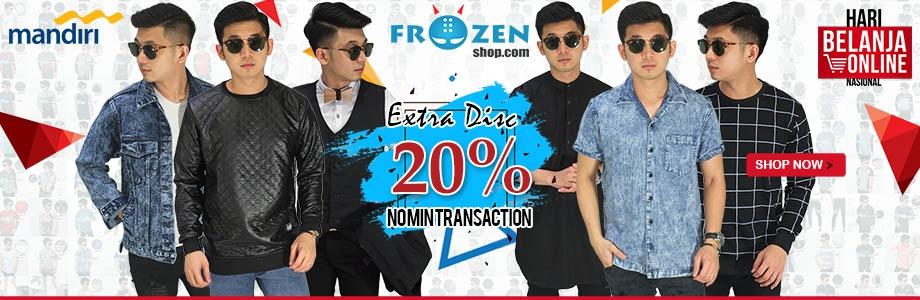 Harbolnas 2018 frozenshop.com memberikan diskon hingga 70%, dan tambahan 20% pembayaran dengan CC Mandiri
