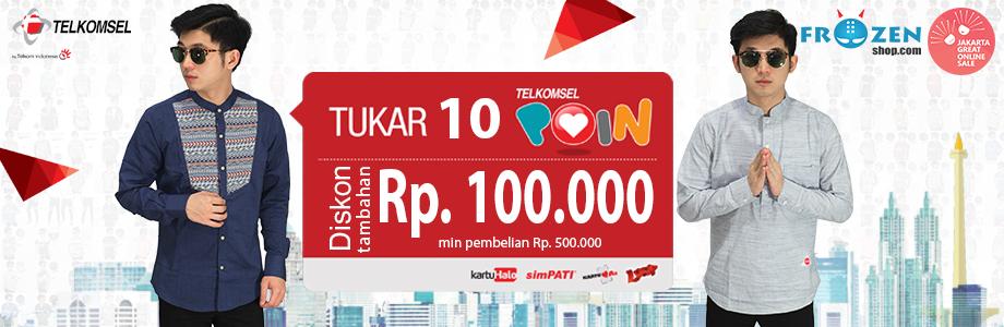 Jakarta Great Online Sale / JGOS 2017 - Tambahan Diskon 100rb min Transaksi 500rb dengan Redeem 10 Telkomsel Poin Kamu