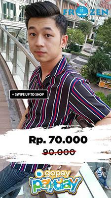 Promo GoPay Kemeja Pendek Revere Collar Blocking Stripe Black