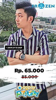 GoPay Payday Kemeja Pendek Revere Collar Awning Stripe Navy