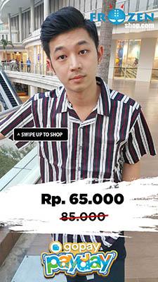 Promo GoPay Payday Kemeja Pendek Revere Collar Awning Stripe Black