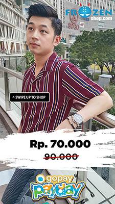 Promo GoPay Kemeja Pendek Revere Collar Blocking Stripe Maroon