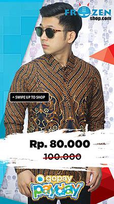 Promo GoPay Kemeja Batik Motif Classic Navy