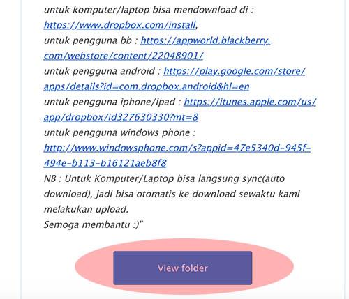 cek email dari dropbox