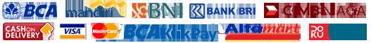 Melayani pembayaran melalui transfer antar bank BCA, BNI, BRI, Mandiri, CIMB maupun melalui Kartu Kredit, BCA KlikPay, Alfamart Group maupun Cash on Delivery(COD), belanja semakin aman